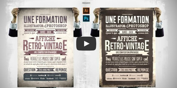affiche retro typographie